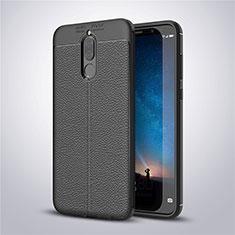 Coque Silicone Gel Motif Cuir Housse Etui S03 pour Huawei Mate 10 Lite Noir