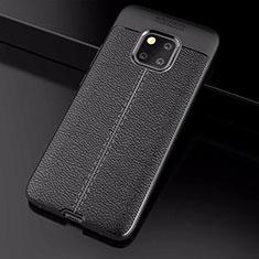 Coque Silicone Gel Motif Cuir Housse Etui S03 pour Huawei Mate 20 Pro Noir