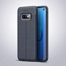 Coque Silicone Gel Motif Cuir Housse Etui S03 pour Samsung Galaxy S10e Bleu