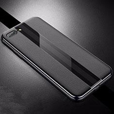 Coque Silicone Gel Motif Cuir Housse Etui S04 pour Apple iPhone 8 Plus Noir