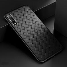 Coque Silicone Gel Motif Cuir Housse Etui S04 pour Huawei Honor 9X Noir