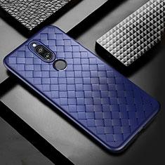 Coque Silicone Gel Motif Cuir Housse Etui S04 pour Huawei Mate 10 Lite Bleu