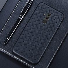 Coque Silicone Gel Motif Cuir Housse Etui S04 pour Huawei Mate 20 Lite Noir