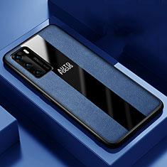 Coque Silicone Gel Motif Cuir Housse Etui S04 pour Huawei P40 Bleu