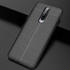 Coque Silicone Gel Motif Cuir Housse Etui S04 pour Xiaomi Poco X2 Noir