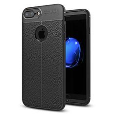 Coque Silicone Gel Motif Cuir Housse Etui S05 pour Apple iPhone 8 Plus Noir