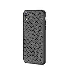 Coque Silicone Gel Motif Cuir Housse Etui S05 pour Apple iPhone XR Noir