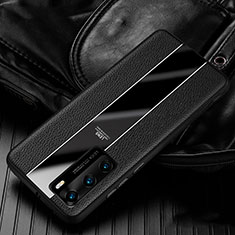 Coque Silicone Gel Motif Cuir Housse Etui S05 pour Huawei P40 Noir