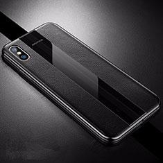 Coque Silicone Gel Motif Cuir Housse Etui S06 pour Apple iPhone X Noir