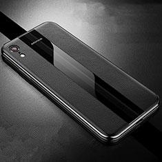 Coque Silicone Gel Motif Cuir Housse Etui S06 pour Apple iPhone XR Noir