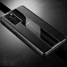 Coque Silicone Gel Motif Cuir Housse Etui S06 pour Huawei P40 Noir