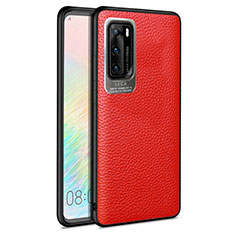 Coque Silicone Gel Motif Cuir Housse Etui S08 pour Huawei P40 Rouge