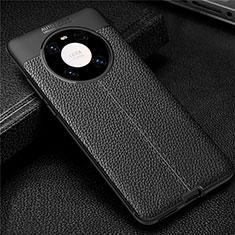 Coque Silicone Gel Motif Cuir Housse Etui U01 pour Huawei Mate 40 Pro Noir