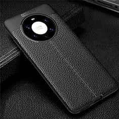 Coque Silicone Gel Motif Cuir Housse Etui U01 pour Huawei Mate 40 Pro+ Plus Noir