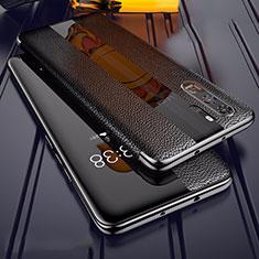 Coque Silicone Gel Motif Cuir Housse Etui Z01 pour Huawei P30 Pro Noir