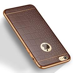 Coque Silicone Gel Motif Cuir pour Apple iPhone 6S Plus Marron