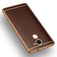 Coque Silicone Gel Motif Cuir pour Huawei Enjoy 7 Plus Marron