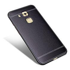 Coque Silicone Gel Motif Cuir pour Huawei G9 Plus Noir