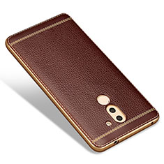 Coque Silicone Gel Motif Cuir pour Huawei Honor 6X Marron