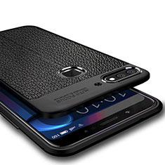 Coque Silicone Gel Motif Cuir pour Huawei Honor 7C Noir