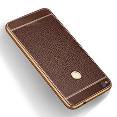 Coque Silicone Gel Motif Cuir pour Huawei Honor 8 Lite Marron