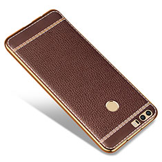 Coque Silicone Gel Motif Cuir pour Huawei Honor 8 Marron