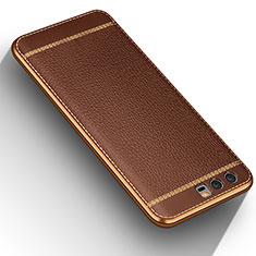 Coque Silicone Gel Motif Cuir pour Huawei Honor 9 Marron