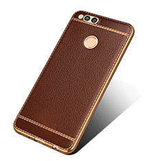 Coque Silicone Gel Motif Cuir pour Huawei Honor Play 7X Marron