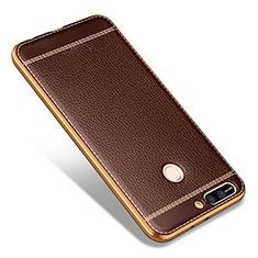 Coque Silicone Gel Motif Cuir pour Huawei Honor V9 Marron
