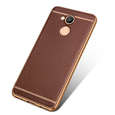 Coque Silicone Gel Motif Cuir pour Huawei Honor V9 Play Marron