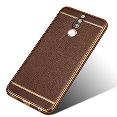 Coque Silicone Gel Motif Cuir pour Huawei Mate 10 Lite Marron