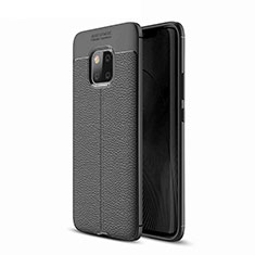 Coque Silicone Gel Motif Cuir pour Huawei Mate 20 Pro Noir