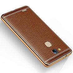 Coque Silicone Gel Motif Cuir pour Huawei Mate 7 Marron