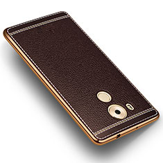 Coque Silicone Gel Motif Cuir pour Huawei Mate 8 Marron