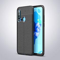 Coque Silicone Gel Motif Cuir pour Huawei P20 Lite (2019) Noir