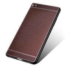 Coque Silicone Gel Motif Cuir pour Huawei P8 Marron