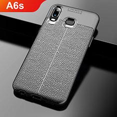 Coque Silicone Gel Motif Cuir pour Samsung Galaxy A6s Noir