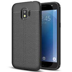 Coque Silicone Gel Motif Cuir pour Samsung Galaxy J2 Pro (2018) J250F Noir