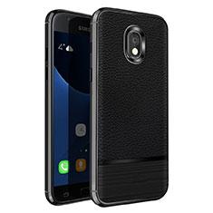 Coque Silicone Gel Motif Cuir pour Samsung Galaxy J5 Pro (2017) J530Y Noir