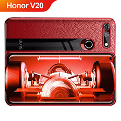 Coque Silicone Gel Motif Cuir Q01 pour Huawei Honor V20 Rouge