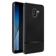 Coque Silicone Gel Motif Cuir Q01 pour Samsung Galaxy A5 (2018) A530F Noir