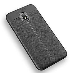 Coque Silicone Gel Motif Cuir Q01 pour Samsung Galaxy J3 Star Noir