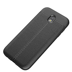 Coque Silicone Gel Motif Cuir Q01 pour Samsung Galaxy J5 (2017) Duos J530F Noir