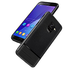 Coque Silicone Gel Motif Cuir Q01 pour Samsung Galaxy J6 (2018) J600F Noir