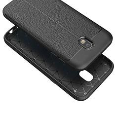Coque Silicone Gel Motif Cuir Q01 pour Samsung Galaxy J7 (2017) Duos J730F Noir