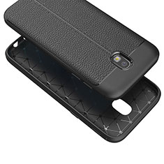 Coque Silicone Gel Motif Cuir Q01 pour Samsung Galaxy J7 (2017) SM-J730F Noir