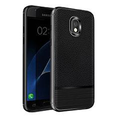 Coque Silicone Gel Motif Cuir Q01 pour Samsung Galaxy J7 (2018) J737 Noir