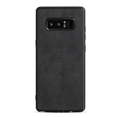 Coque Silicone Gel Motif Cuir Q01 pour Samsung Galaxy Note 8 Noir
