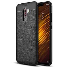 Coque Silicone Gel Motif Cuir Q01 pour Xiaomi Pocophone F1 Noir