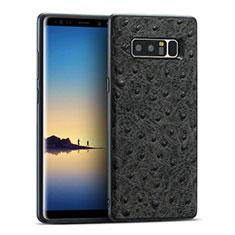 Coque Silicone Gel Motif Cuir R02 pour Samsung Galaxy Note 8 Noir